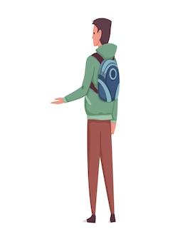 Плоские люди значок. мужчины показали руку. современные молодые люди с видом сбоку рюкзак
