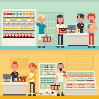 Плоские люди в супермаркете