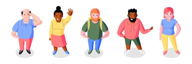 Плоские люди смотрят под высоким углом