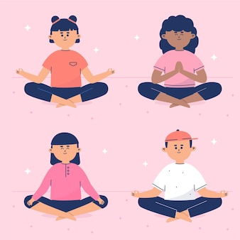 Flat people meditating collection