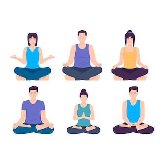 Flat people meditating illustrated