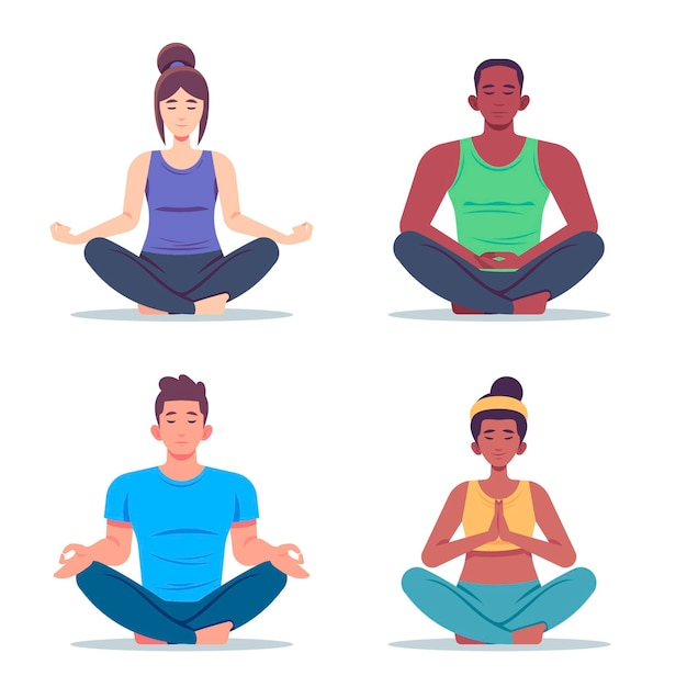 Flat people meditating illustration