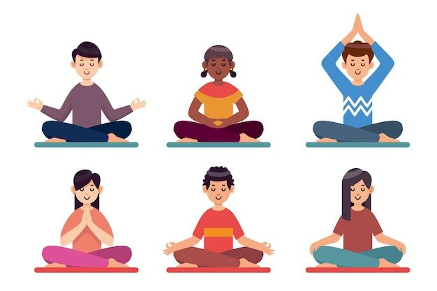 Persone piatte meditando illustrazione