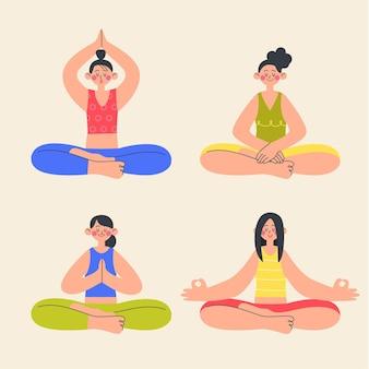 イラストを瞑想するフラットな人々