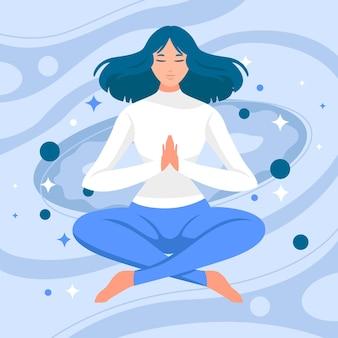 Flat people meditating illustration