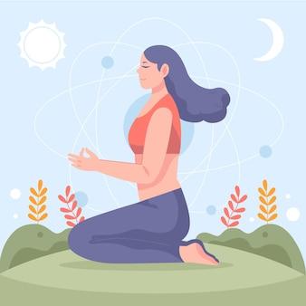Плоские люди медитируют иллюстрация