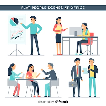 Flat people at the office collection