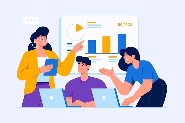 Плоские люди на бизнес-обучении