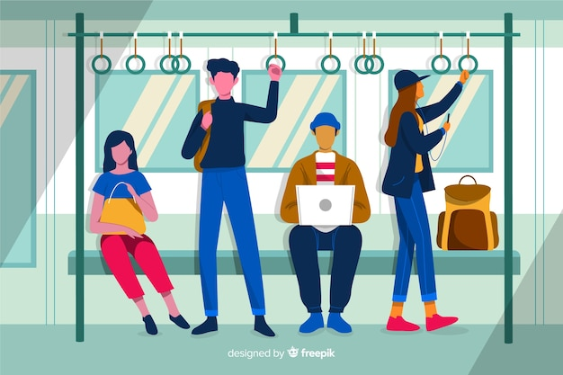 Плоские люди в метро
