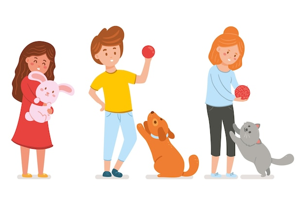 Flat people playing with their pets