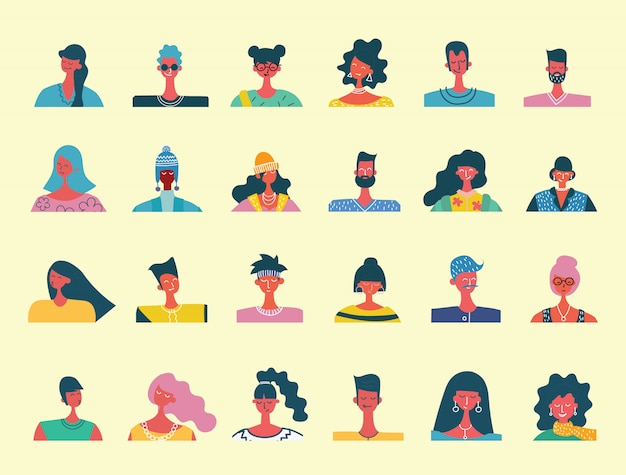 Flat people portraits. smiling human icon. human avatar. simple cute characters. cute friendly people. man, boy icon. woman, lady, young girl icon isolated on light background.