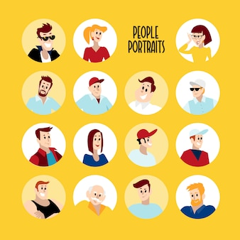 Flat people portraits. smiling human icon. human avatar. simple cute characters.
