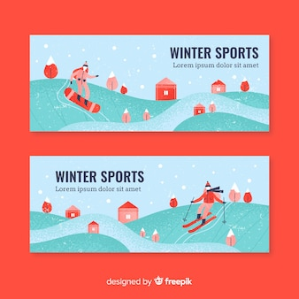 Flat people practising winter sport banner