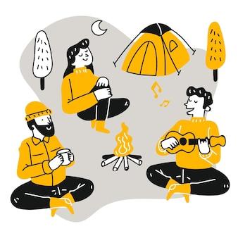 캠핑에서 편안한 플랫 사람들