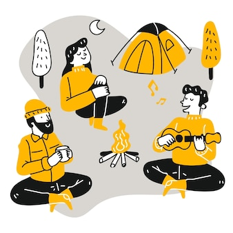Flat people relaxing at camping