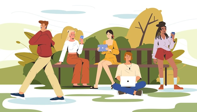 Flat people sitting on bench in city park and using gadgets