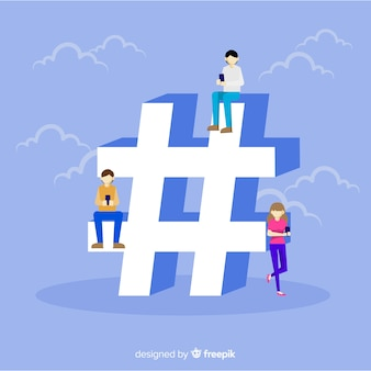Flat people social media hashtag symbol background
