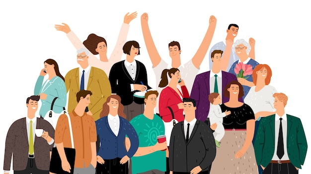 平らな人。社会の概念。白で孤立した群衆の幸せな人々。笑顔の女性男性高齢者