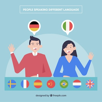 Flat people speaking different languages