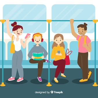 Flat people on the subway