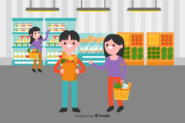 Flat people in the supermarket