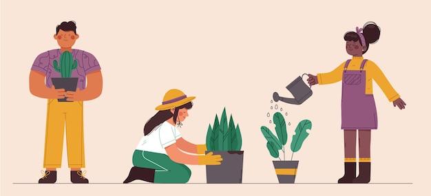 屋内で植物の世話をしている平らな人