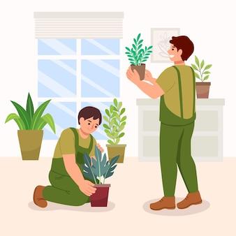 내부 식물을 돌보는 평평한 사람들