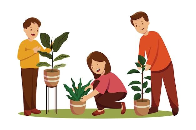 식물 세트를 돌보는 플랫 사람들