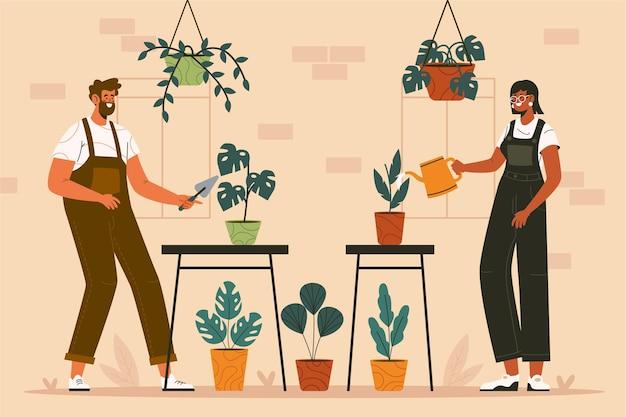 一緒に植物の世話をする平らな人