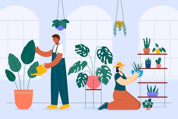 식물을 돌보는 평평한 사람들