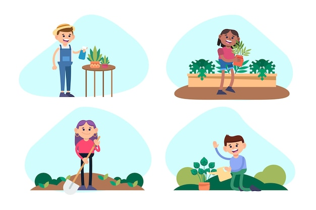 Flat people taking care of plants collection