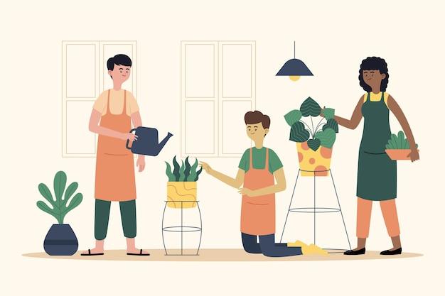Persone piatte che si prendono cura della raccolta delle piante