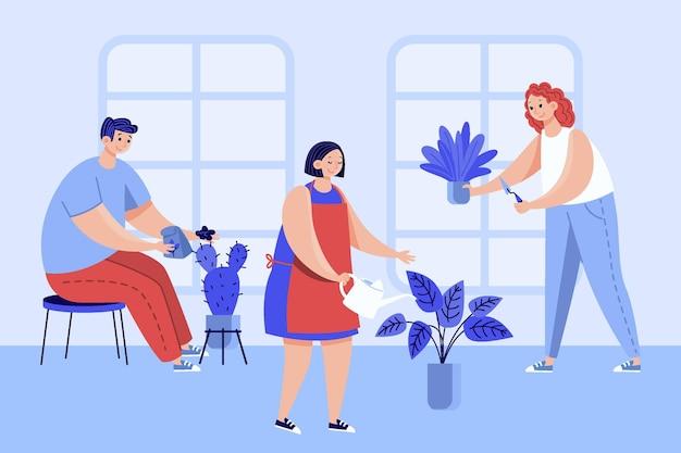 Persone piatte che si prendono cura dell'illustrazione delle piante
