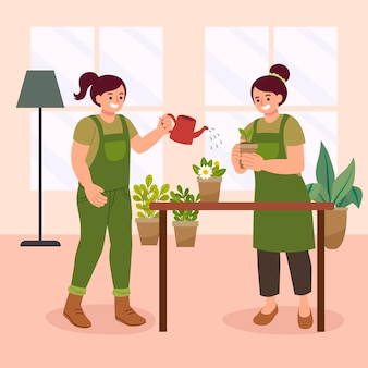 Flat people taking care of plants indoors