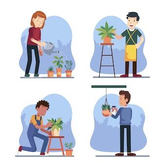 Persone piatte che si prendono cura del set di piante