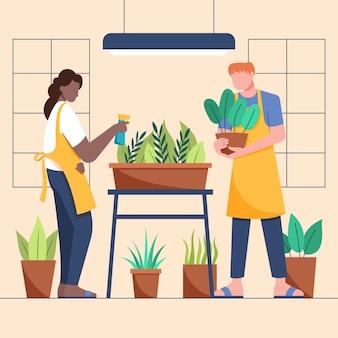 Persone piatte che si prendono cura delle piante insieme