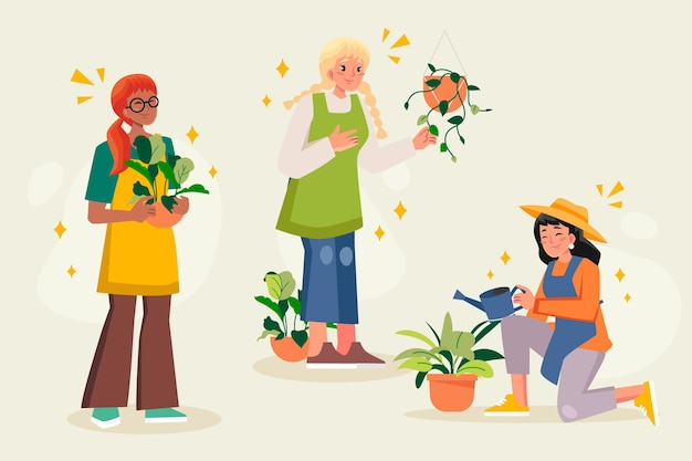 Flat people taking care of plants together