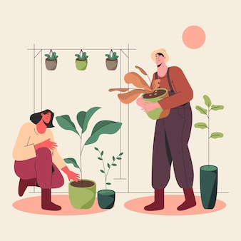 Flat people taking care of plants