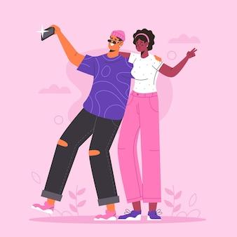 Плоские люди фотографируют со смартфоном
