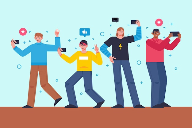 Flat people taking photos with smartphone