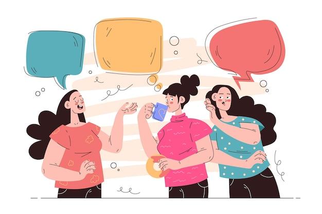 Flat people talking illustration