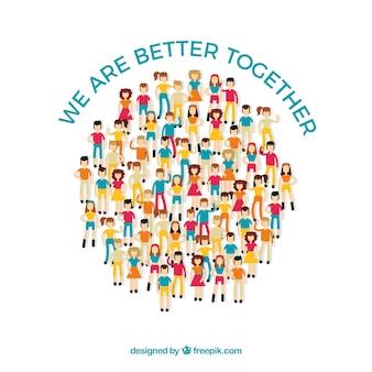평평한 사람들이 함께 원을 형성