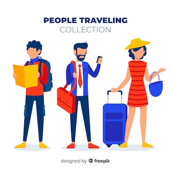 Flat people traveling collection