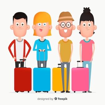 Flat people traveling pack
