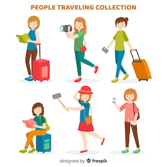 Flat people travelling collection