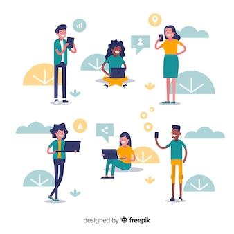 Flat people using electronic device collection