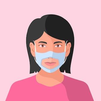 청각 장애인을위한 투명한 얼굴 마스크가있는 평평한 사람들