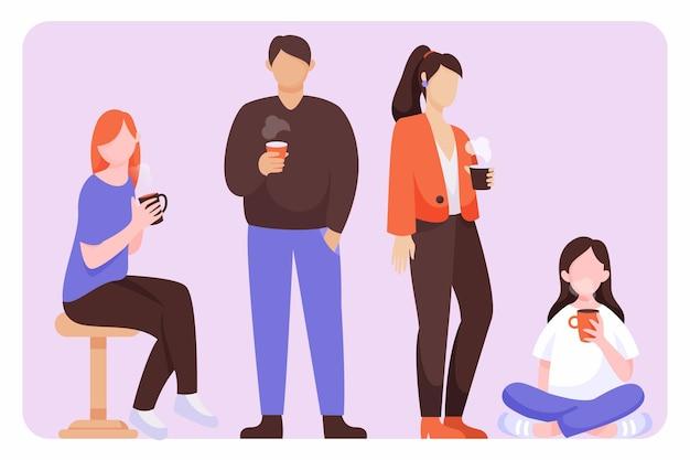 뜨거운 음료와 평평한 사람들