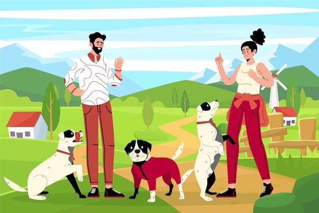 Плоские люди с иллюстрацией домашних животных