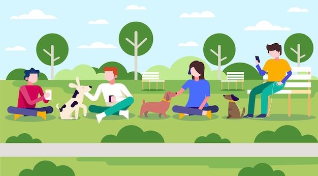 공원에서 애완 동물을 가진 평평한 사람들